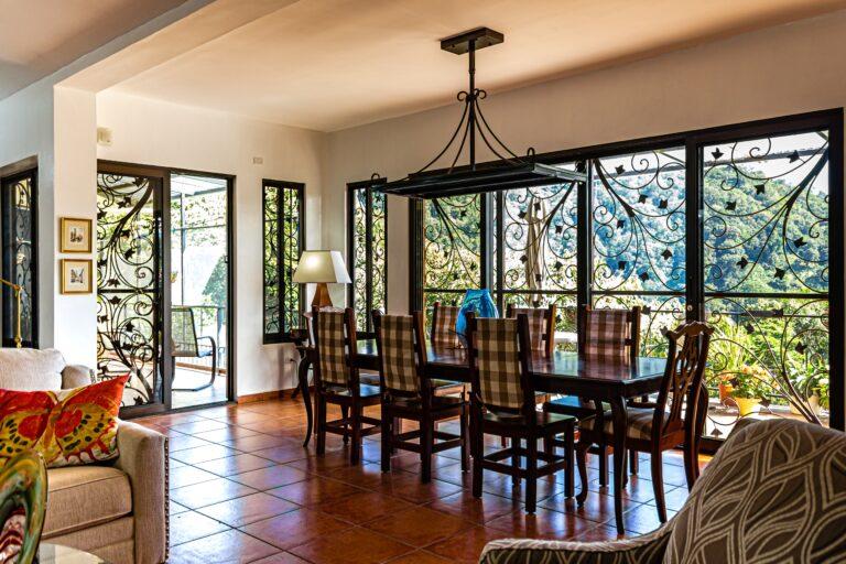 beautiful dining room with windows