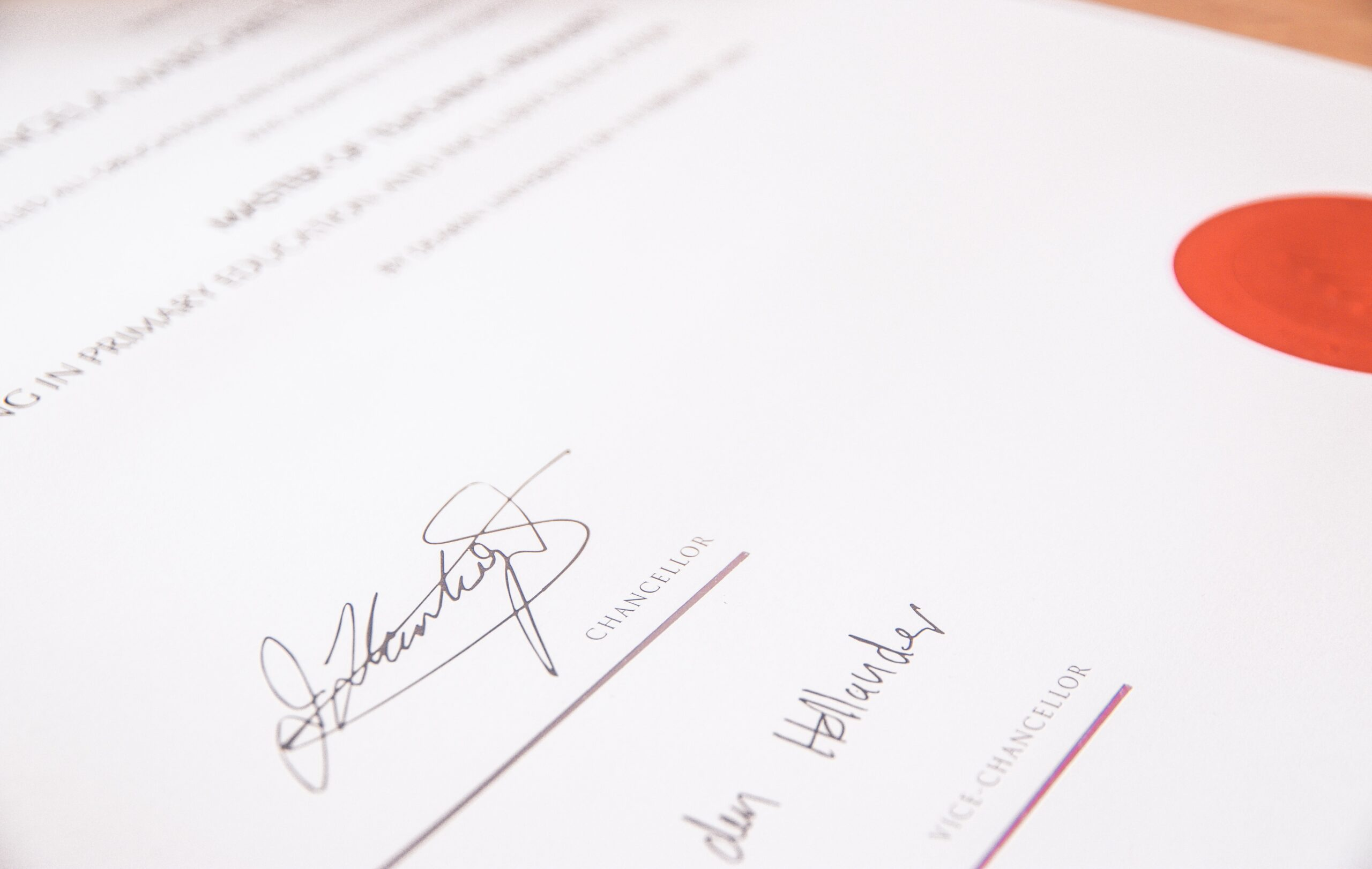 signature on a peice of paper