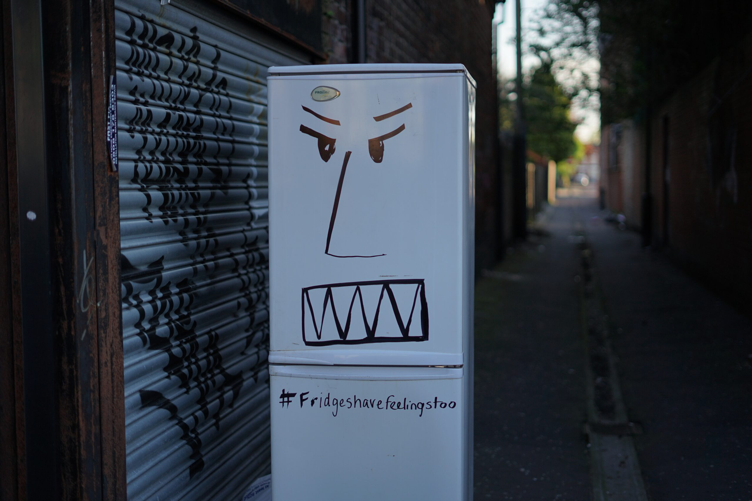 fridge with an angry face graffiti on it