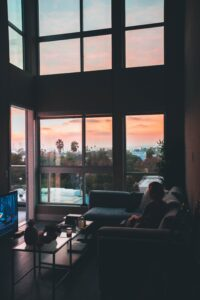 living room sunset